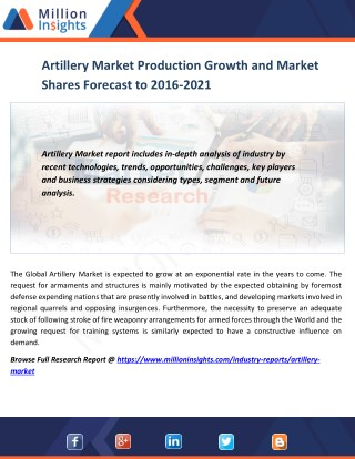 Artillery Market Production Growth and Market Shares Forecast to 2016-2021