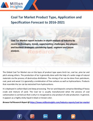 Coal Tar Market Product Type, Application and Specification Forecast to 2016-2021