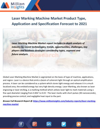 Laser Marking Machine Market Product Type, Application and Specification Forecast to 2016-2021