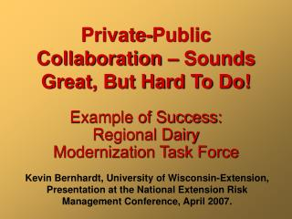 Private-Public Collaboration – Sounds Great, But Hard To Do!