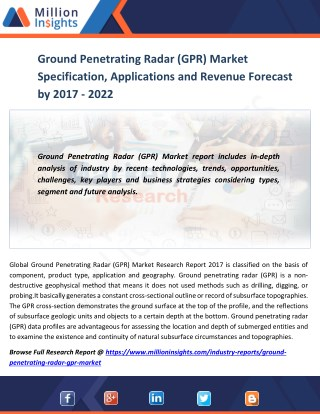 Ground Penetrating Radar (GPR) Market Specification, Applications and Revenue Forecast by 2016 - 2021
