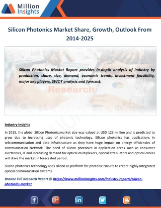 Silicon Photonics Industry Analysis, Size, Growth, Trends and Forecast 2014-2025