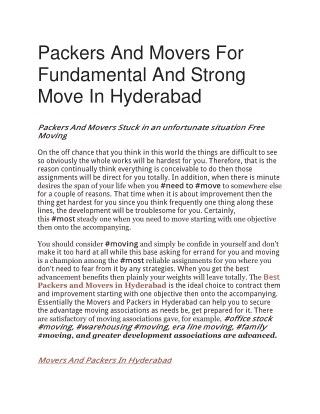 Packers And Movers For Fundamental And Strong Move In Hyderabad