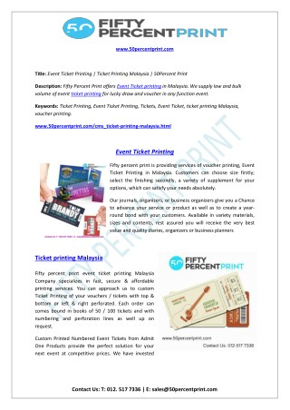 Ticket Printing Malaysia - 50Percent Print