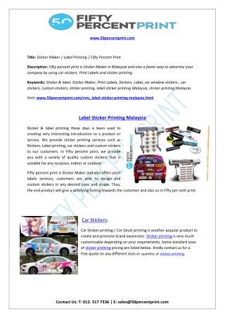 Label Sticker Printing Malaysia
