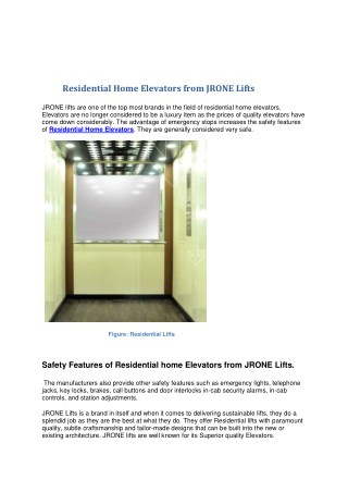 Residential Home Elevators Offered by  JR ONE Lifts