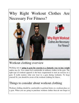 Why Right Workout Clothes Are Necessary For Fitness?