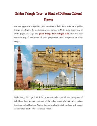Golden Triangle Tour - A Blend of Different Cultural Flavors