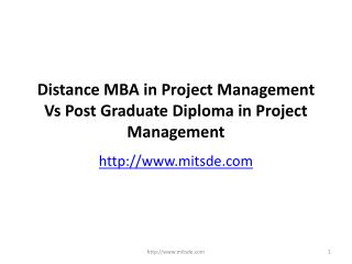 Distance MBA in Project Management Vs Post Graduate Diploma in Project Management