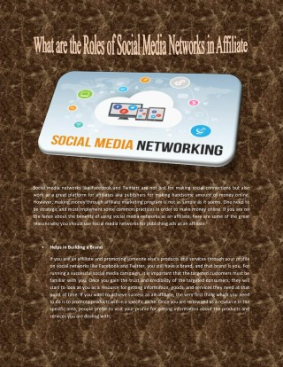 What are the Roles of Social Media Networks in Affiliate Marketing?