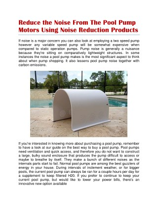 pool pump noise reduction products