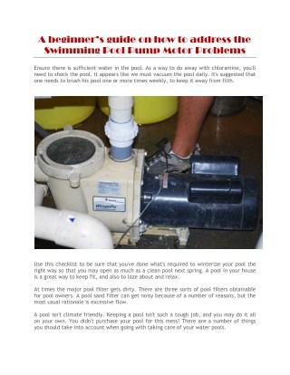 swimming pool pump motor problems