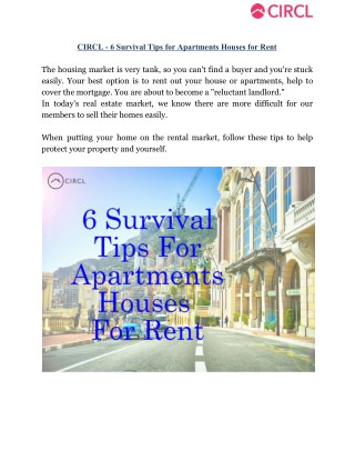 CIRCL - 6 Survival Tips for Apartments Houses for Rent