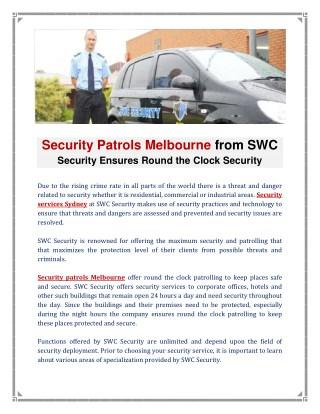 Security Patrols Melbourne & Security services Sydney