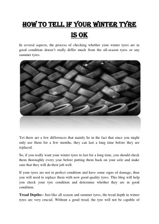 How to tell if your winter tyre is ok