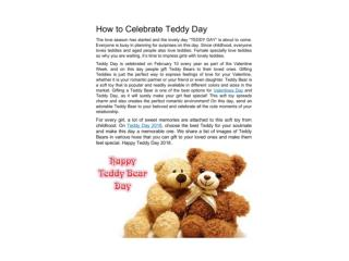 How to celebrate Teddy Day 2018