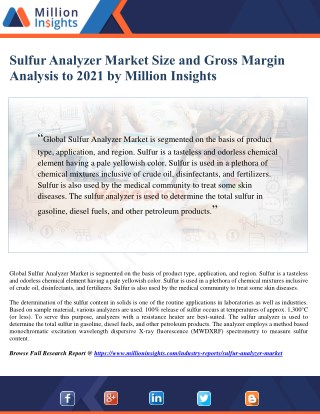 Sulfur Analyzer Market Analysis by Application and Competitive Insights to 2021