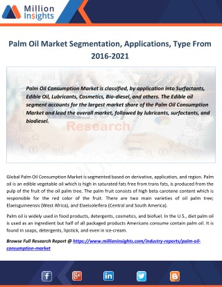 Palm Oil Market Production, Revenue, Price and Gross Margin Forecast 2016-2021