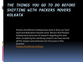The Things You Go To Do Before Shifting With Packers Movers Kolkata