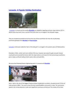 Lonavala and mahabaleshwar- dream destinations