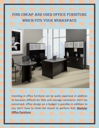 Find Cheap and Used Office Furniture Which Fits Your Workspace