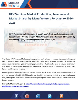 HPV Vaccines Market Production, Revenue and Market Shares by Manufacturers Forecast to 2016-2021