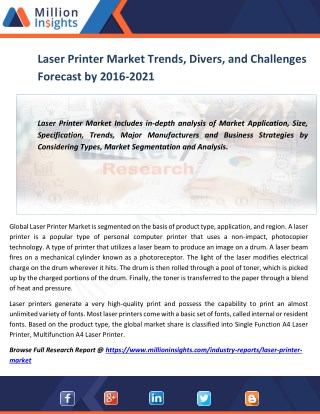 Laser Printer Market Trends, Divers, and Challenges Forecast by 2016-2021