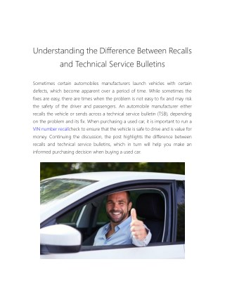 Understanding the Difference Between Recalls and Technical Service Bulletins