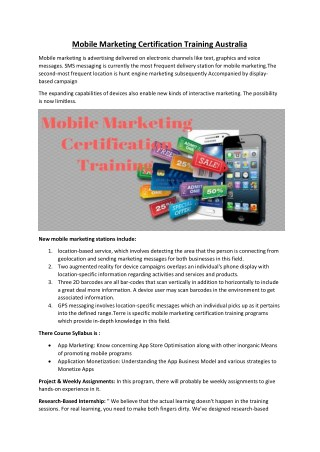 Mobile Marketing certification training Australia