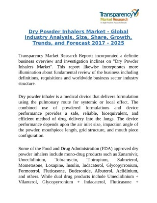 Dry Powder Inhalers Market - Global Industry Size Analysis 2025