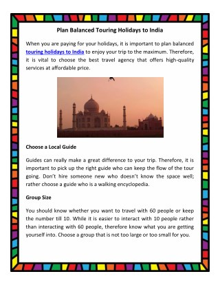 Plan Balanced Touring Holidays to India