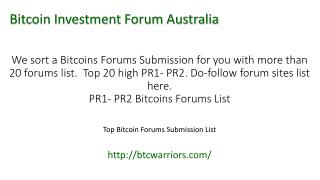Bitcoin Investment Forum Australia