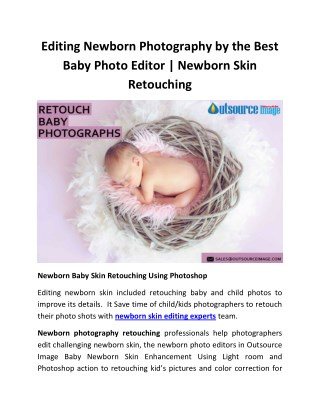 Newborn Baby Skin Retouching | Creamy Newborn Skin Using Photoshop