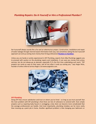 Plumbing repairs do it yourself or hire a professional plumber