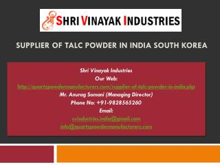 Supplier of talc powder in India South Korea