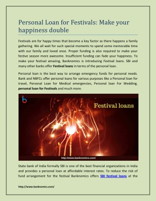 Personal Loan for Festivals: Make your happiness double
