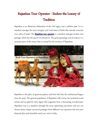 Rajasthan Tour Operator - Endure the Luxury of Tradition