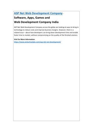 ASP Net Web Development Company - Software,Apps,Gamesand WebDevelopmentCompanyIndia