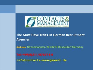 The Must Have Traits Of German Recruitment Agencies