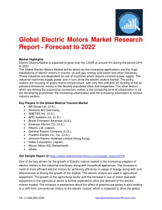 Global Electric Motors Market Research Report - Forecast to 2022