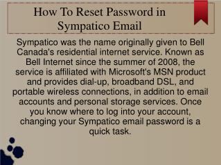 How to reset password in sympatico email