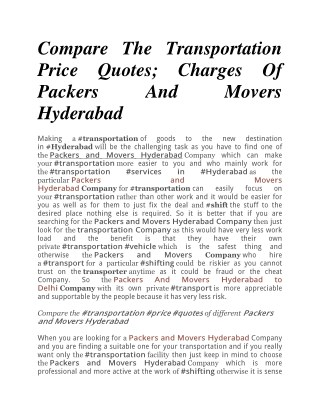 Compare The Transportation Price Quotes; Charges Of Packers And Movers Hyderabad