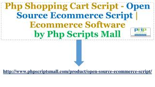 Open Source Ecommerce Script | Ecommerce Software