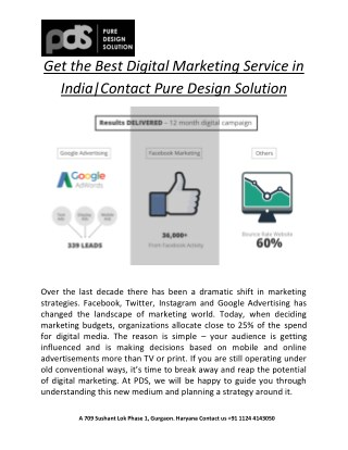 Get the Best Digital Marketing Service in India| Contact Pure Design Solution