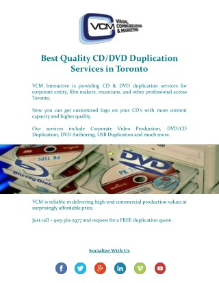 Looking For Best Quality CD/DVD Duplication Across Toronto?