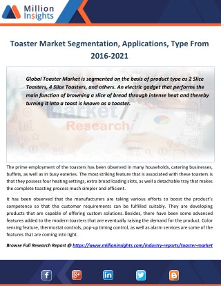Toaster Market Production, Revenue, Price and Gross Margin Forecast 2016-2021
