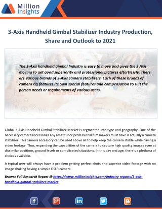 3-Axis Handheld Gimbal Stabilizer Market Revenue, Value, Sales and Trends To 2021