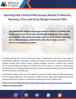 Spinning Disk Confocal Microscope Industry Analysis by Application,Growth Rate, Sales Forecast 2021