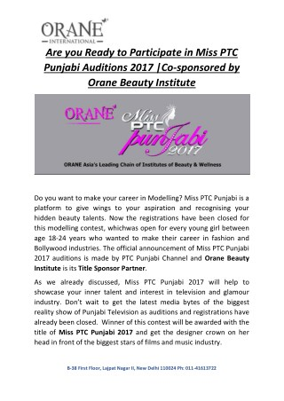 Are you ready to Participate in Miss PTC Punjabi Auditions 2017 | Co-sponsored by Orane Beauty Institute