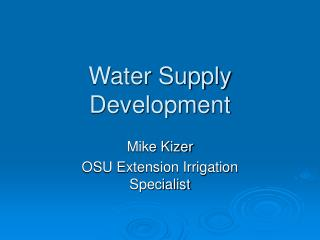 Water Supply Development